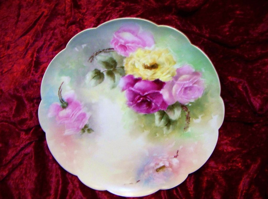 "Large Limoges France 1900 Hand Painted ""Red, Pink, & Yellow Roses"" 13-1/2"" Charger"