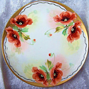 Fabulous Pair of Bavaria 1900's Hand Painted &quot;Burnt Orange Poppies&quot; 8-1/2&quot; Plat