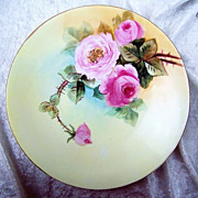 J.P.L. France Limoges 1900's Hand Painted &quot;Red & Pink Roses&quot; 9&quot; Plate