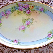 "SALE Beautiful Bavaria 1900's Hand Painted ""Pink & Yellow Roses"" 15"" Platter by"