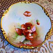 "Gorgeous E.W. Donath Studio & J.P.L. France Limoges 1900's Hand Painted ""Burnt Orange Pop"