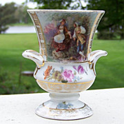 "SALE Scarce RS Prussia 1900's ""Scenic Romancing Couple"" 3-5/8"" Vase"