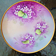 "Vintage 1900's Bavaria Hand Painted ""Deep Violets"" 8-1/4"" Plate by the Artist,"