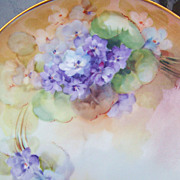 "Professionally Decorated Vintage 1900's Bavaria Hand Painted ""Violets"" 8-1/4"" P"