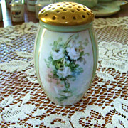 "Bavaria 1900's Hand Painted ""White Roses"" 4-5/8"" Sugar Shaker"
