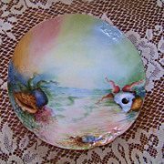 1900's Limoges France Hand Painted &quot;Sea Life&quot; 8-3/8&quot; Plate by the Artist, &quot;