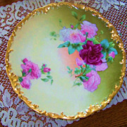 "Gorgeous T & V Limoges France 1900's Hand Painted ""Deep Red & Pink Roses"" 12-1/2"""