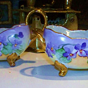Gorgeous Bavaria 1900's Hand Painted &quot;Violets&quot; Footed Sugar & Creamer