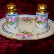 "Vintage Haviland France 1906 Hand Painted ""Pink Roses"" 3-Pc Floral Condiment Set by"