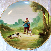 SALE Outstanding & Large France 1875--80's Hand Painted &quot;Hunt Scene&quot; 14-1/4&quot; Pl