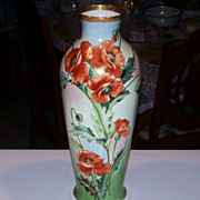 "SALE Spectacular Vintage 1900's Hand Painted ""Deep Burnt Orange Poppy"" 17"" Vase"