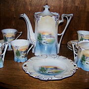 "SALE Scarce RS Prussia 1900's Scenic ""Snowbird"" 12 Pc. Childs Tea Set"