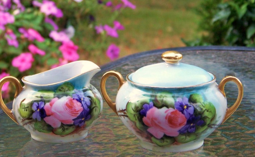 Vintage Germany 1900's Hand Painted &quot;Roses & Violets&quot; Sugar & Creamer