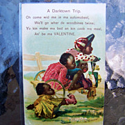 Black Americana, German Printed, 1909 Valentine Post Card Entitled &quot;A Darktown Trip&quot;