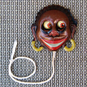 SALE Vintage Black Americana 1910's German GOGGLE-EYE Pull Tin Litho Germany Toy