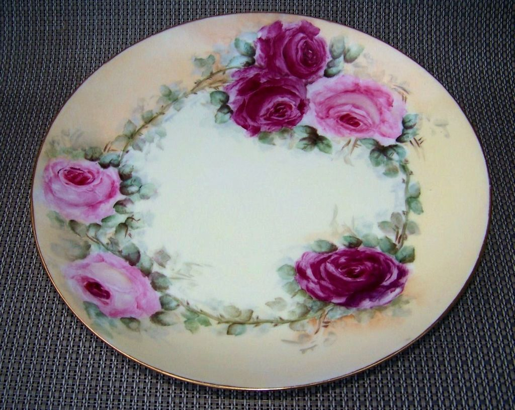 "Attractive Limoges France 1900's Hand Painted ""Deep Red & Pink Roses"" 9-1/4"" Plate by  the Artist, ""B. Hartnett"""
