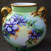 Gorgeous Vintage J.P.L France Limoges 1900's Hand Painted Vibrant &quot;Clemantis & Pink Poppi