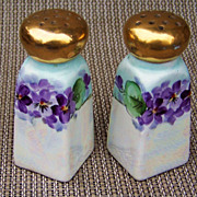"Gorgeous & Vibrant 1900's German Silesia Hand Painted ""Violets"" 3-5/8"" Salt & P"