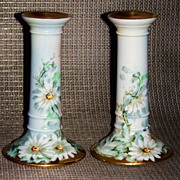 "Beautiful Bavaria 1900's Hand Painted ""Daisies"" 6-1/8"" Pair of Candlestick Hold"