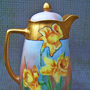 "SALE Superb Omhe Silesia Germany Hand Painted ""Deep Yellow Jonquils"" 9-3/8"" Cho"