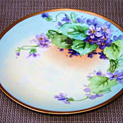"Vintage William Guerin Limoges France 1900's Hand Painted ""Violets"" 8-1/2"" Plat"