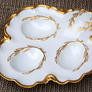 "SALE Beautiful Vintage 1900's H & Co. Limoges France Hand Painted ""3-Sectional Egg Holder"