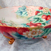 Superb T & V Limoges France 1900's Hand Painted &quot;Strawberry&quot; 8-1/2&quot; 3-Footed Bo