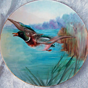 "Beautiful Vintage Austria 1900's Hand Painted ""Mallard Duck Fleeing Duck Hunter"" 9"""