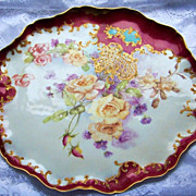 "Spectacular & Vibrant J.P.L. France Limoges Hand Painted ""Yellow & Peach Roses"" 15-7"