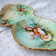 "Outstanding 1900's T & V Limoges France Hand Painted ""Sea Life"" 10-5/8"" Sardine"