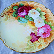 Spectacularly Decorated Vintage 1900's Vienna Austria Hand Painted Vibrant &quot;Red, Pink, Wh