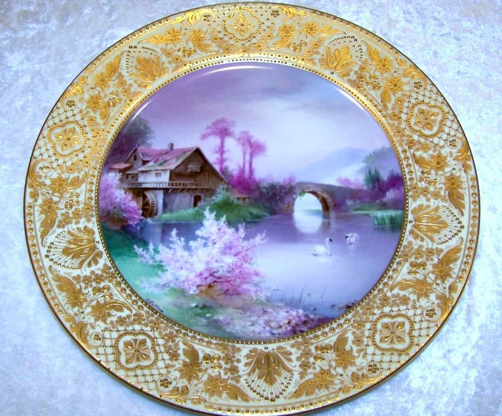 "Outstanding Vintage Royal Vienna Hand Painted Scenic ""Swans on A Lake Near An Old Water Mill"" 10-3/8"" Plate by Artist, ""C. Pohl"""