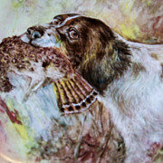 "T & V Limoges 1900's Hand Painted ""English Spaniel Hunting Dog with Prey"" 9-1/2"""