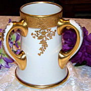 Fabulous J.P.L. France Limoges Hand Painted Heavy Gold &quot;Roses&quot; 7-1/2&quot; 3-Handle 