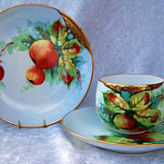 "Exceptional Bavaria 1900's Hand Painted ""Red & Green Crabapples"" Matching Cup,Saucer"