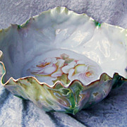 "Vintage RS Germany 1920's Green Irredescent 9-3/4"" Lettuce Leaf Bowl With ""White Ros"