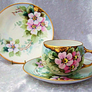 Beautiful Bavaria 1900's Hand Painted &quot;Wild Roses&quot; Matching Cup,Saucer, & Plate by L