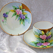 Outstanding Bavaria 1900's Hand Painted &quot;Pink & Lavender Flowers&quot; Matching Cup,Sauce