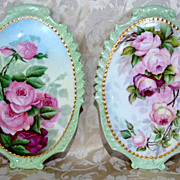 "Spectacular Vintage 1904 Limoges France Hand Painted ""Deep Red & Pink Roses"" 13-3/4"""