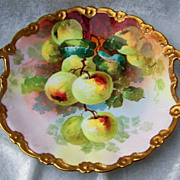 "Wonderful Vintage 1900's Hand Painted Vibrant ""Apple Decor"" 11-1/2"" Heavy Gilde"
