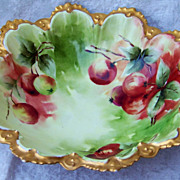 "Exquisite MZ Austria Hand Painted Vibrant ""Red & Green Apple"" 10-3/4"" Bowl by t"