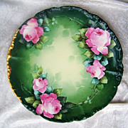 "Vintage 1900's J.P.L. France Limoges Hand Painted ""Pink Roses"" 9-3/4"" Plate by"
