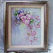 Impressive & Large Limoges 1940-1970's Hand Painted &quot;Pink & Lavender Pansy&quot; 10&quot;