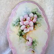 Pretty & Large Limoges 1950-1970's Hand Painted &quot;Wild Pink Roses&quot; 9-1/4&quot; X 6-1/