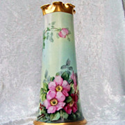 "Gorgeous Bavaria 1900's Vibrant Hand Painted ""Deep Wild Red & Pink Roses"" 11"" V"