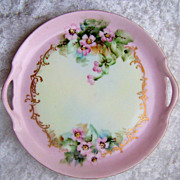 Gorgeous Vintage 1900's Vienna Austria Hand Painted &quot;Wild Pink Roses&quot; 7-1/2&quot; 2-