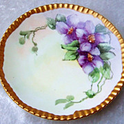Beautiful Vintage T & V Limoges France Hand Painted &quot;Purple Orchid&quot; 6-3/4&quot; Plat