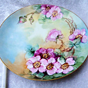 "Exquisite 1900's Limoges France Hand Painted Vibrant ""Red & Pink Wild Roses"" 9-1/2"""