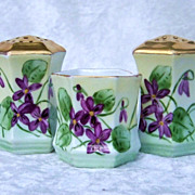 "Outstanding RS Prussia [C.S.] 1900's Hand Painted ""Violets"" 3-Pc Condiment Set of Sa"