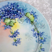 "Attractive Limoges France 1900's Hand Painted Vibrant ""Violets"" 9-1/4"" Plate by"